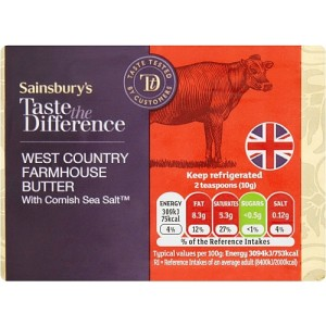 Sainsbury's Farmhouse Butter, Taste the Difference 250g