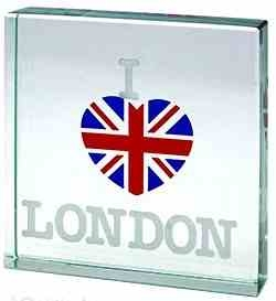 I Love London Glass Paperweight with Union Jack Heart