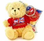 London Teddy Bear Keyring - Red