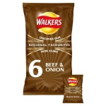 Walkers Beef & Onion Crisps 25g x 6 per pack
