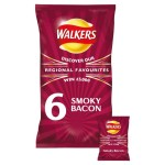 Walkers Smoky Bacon Crisps 6 per pack