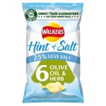 Walkers Hint of Salt Olive Oil & Herb Crisps 6 x 25g