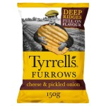 Tyrrells Crisps Mature Cheddar &  Pickled Onion Furrows 150G