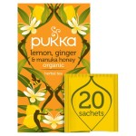 Pukka Organic Lemon Ginger & Manuka Honey Tea Bags 20 per pack