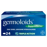 Germoloids Triple Action Haemorrhoids & Piles Suppositories Tablets 24 pack