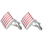 Classic Silver & Red Coloured Modern Stripe Cufflinks