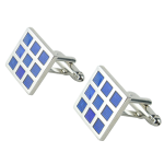 Light Blue Checkers Enamel Cufflinks
