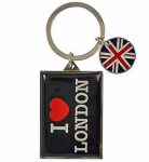 Metal I Love London & Union Jack Disc Keyring