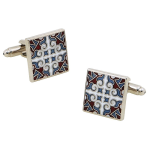 Square Vintage Exotic Style Engraving Cufflinks