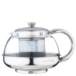VonShef Stainless Steel Glass Infusion Teapot 800ml
