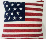 "Stars and Stripes American Flag Chenille  18"" Thick Cushion Cover"