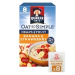 Quaker Oat So Simple Banana Strawberry Porridge 8 x 35.5g