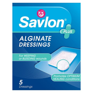 Savlon Alginate Dressings x 5 sterile dressings (7.5cm x 5cm)