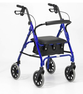 Days Lightweight Folding Four Wheel Walker with Padded Seat, Lockable Brakes, Ergonomic Handles, and Carry Bag Blue
