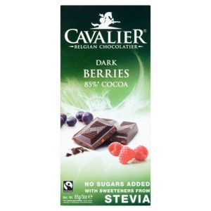 Cavalier Dark Chocolate with Berries No Sugar Added Bar 85g