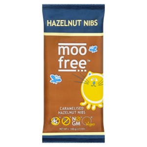 Moo Free Caramelised Hazelnut Nibs Bar 100g