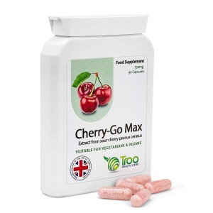 Cherry Go Max Montmorency High Strength Sour Cherry Prunus Cerasus Extract Supplement - 750mg - 90 Capsules