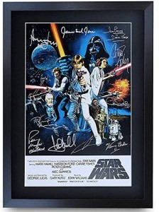 Framed Star Wars Movie Poster Cast Signed Print A3