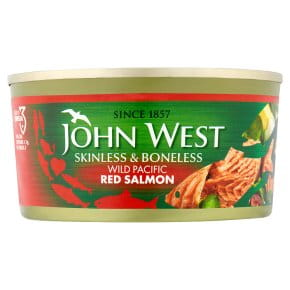 John West Wild Pacific Red Salmon Skinless & Boneless 170g