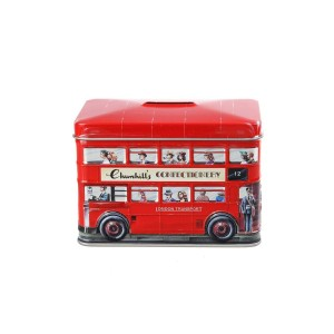 Churchill's London Bus Money Box Tin with Toffees 200g