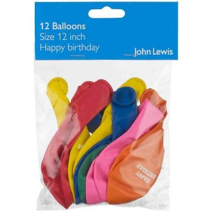 John Lewis Happy Birthday Balloons -  Pack of 12