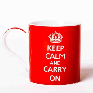 Keep Calm and Carry On Red Fine China Mug - Boxed mug