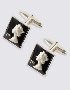 M&S COLLECTION  Stamp Cufflinks Black