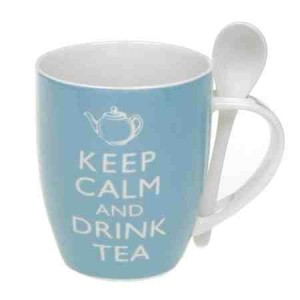 Keep Calm And Drink Tea Mug with Ceramic Spoon - Gift Boxed
