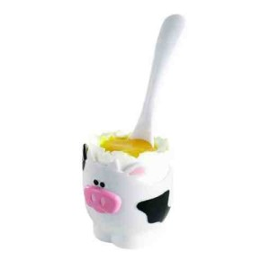 Joie Moo Moo Egg Cup and Spoon - White