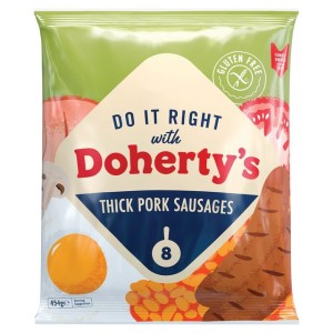 Doherty's Gluten Free Frozen Thick Pork Sausages 454g