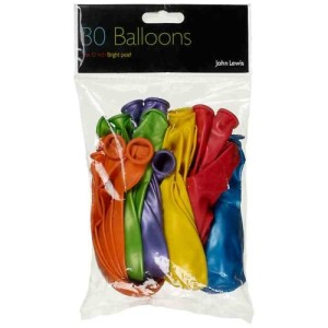 John Lewis 30cm Balloons, Multi, Pack of 30