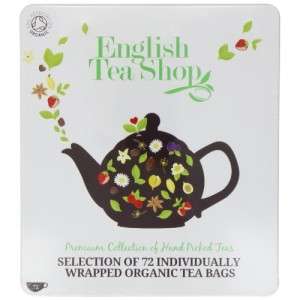 English Tea Shop Assorted Fairtrade and Organic Tea Bags Gift Tin - 72 Sachets