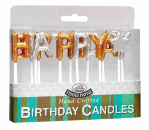 Fiddes Payne Happy Birthday Gold and Silver Candles 14 Pack