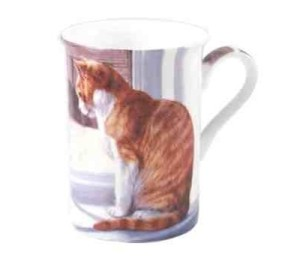 Bone China Cat at Window Mug - Gift Boxed