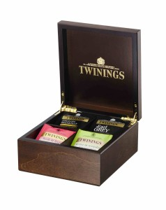 Twinings Black Tea Wooden Compartment Caddy Chest Box 48 tea bags