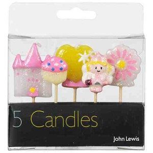 John Lewis Princess Themed Birthday Candles, Pack Of 5