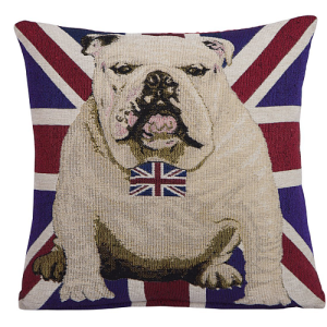 British Bulldog Decorative Chenille Cushion Cover 45 x 45cm