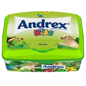 Andrex Washlets Flushable Kids Toilet Tissue Wipes Tub 42 per pack