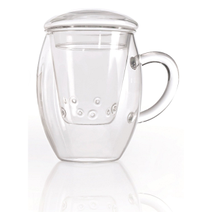 Creano All-in-One Tea Glass with Glass Filter and Lid - 400ml
