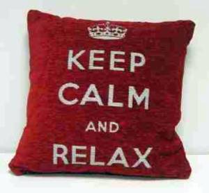 "Keep Calm & Relax Heavyweight Chenille Cushion Cover 18"" Red"
