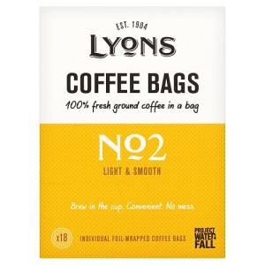 Lyons No2 Light & Smooth Ground Coffee Bags 18 per pack