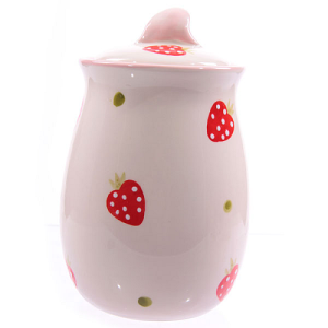 Ceramic Strawberry Pattern Tall Pot with Lid