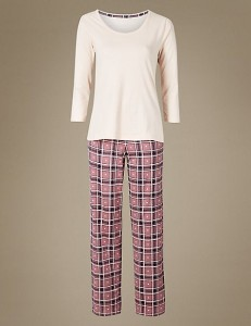 M&S COLLECTION  Pure Cotton Check Print ¾ Sleeve Pyjama Set