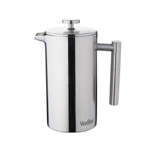 VonShef 6 Cup Double-Wall Satin Polished Stainless Steel Cafetiere
