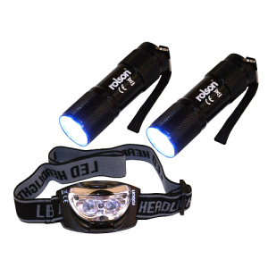 Rolson 2 x 9-LED Torches and 3-LED Head Light Set