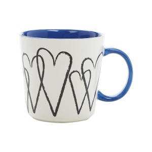 Blue Stoneware Hearts Mug 350ml