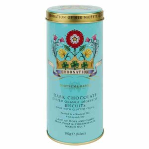 Fortnum & Mason Orange Biscuits Dark Chocolate Dipped Musical Tin 185g
