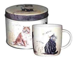 Multi Coloured Cats Mug in a Gift Tin