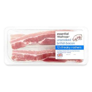 Unsmoked British Bacon Streaky Rashers essential Waitrose 250g