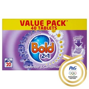 Bold 2 in 1 Lavender & Camomile Tablets 20 Washes 40 per pack